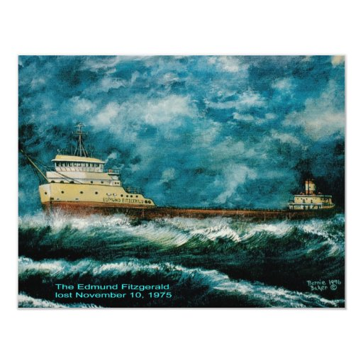 """Edmund Fitsgerald 1996 with text 4.25"""" X 5.5"""" Invitation Card"""