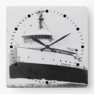 Edmund Fitzgerald Vintage Great Lakes Freighter Square Wall Clock
