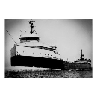Edmund Fitzgerald Vintage Maritime Great Lakes Poster