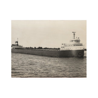 Edmund Fitzgerald Vintage Maritime Great Lakes Wood Poster