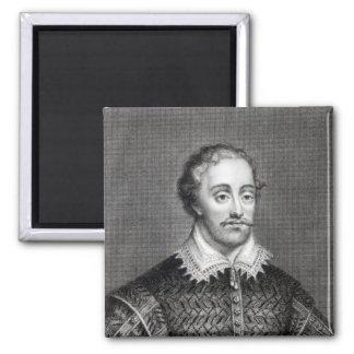 Edmund Spenser, engraved by Burnet Reading 2 Inch Square Magnet