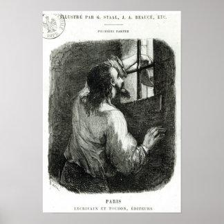 Edmundo Dantes encarcelado en el d'If del castillo Poster