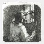 Edmundo Dantes encarcelado en el d'If del castillo Pegatina Cuadrada