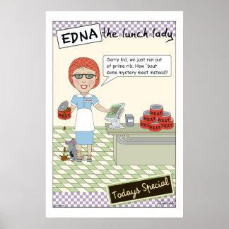 Edna la señora Cartoons del almuerzo Póster