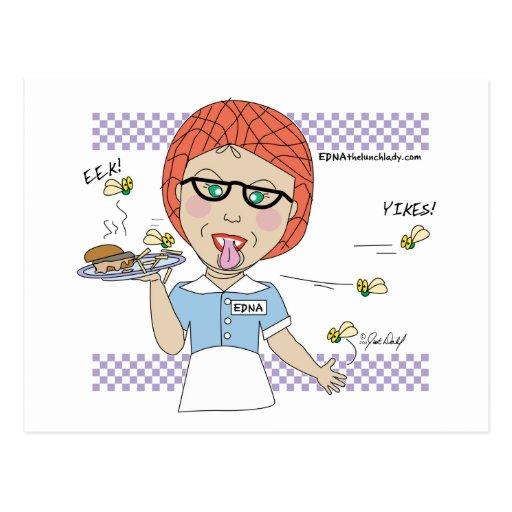 Edna la señora Cartoons del almuerzo Tarjeta Postal
