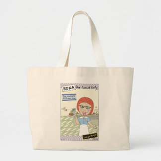 Edna The Lunch Lady Cartoons Large Tote Bag