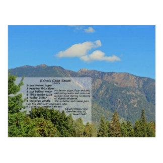 Edna's Cake Sauce Recipe Mountain Postcard