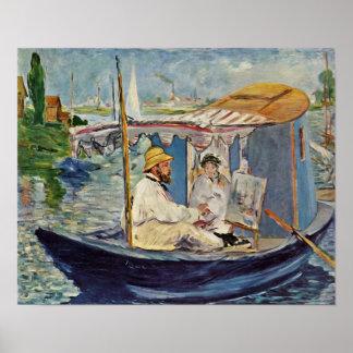 edouard Manet - Portrait de Claude Monet Print