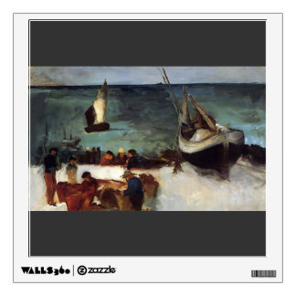 Edouard Manet- Seascape at Berck, Fishing Boats Room Decal