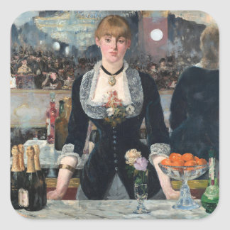 EDOUART MANET - A bar at the Folies-Bergere 1882 Square Sticker