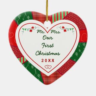 Edredón 2015 nuestro primer navidad casado adorno navideño de cerámica en forma de corazón