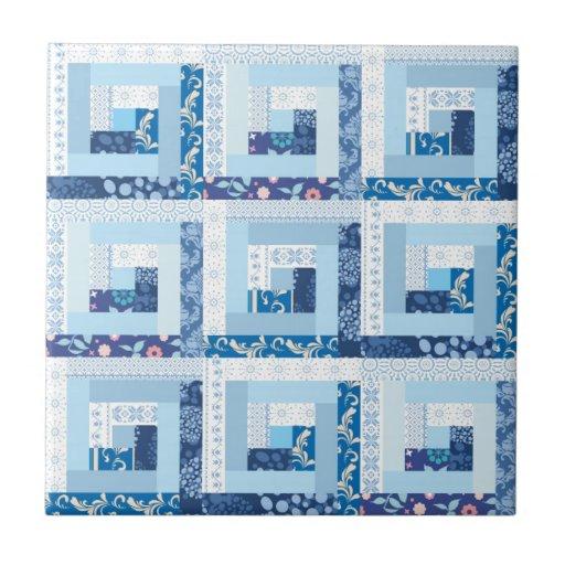 Edredón azul azulejo cuadrado pequeño