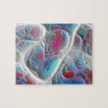Edredón azul y blanco - placer de la magenta y de  puzzle