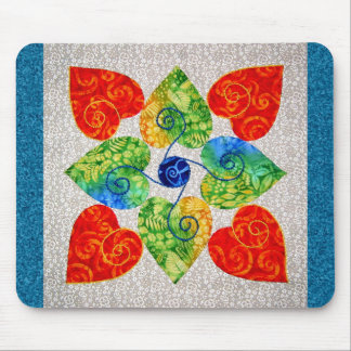 Edredón banal de los corazones - bloque #1 mouse pad