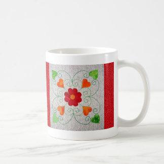 Edredón banal de los corazones - bloque #2 taza de café