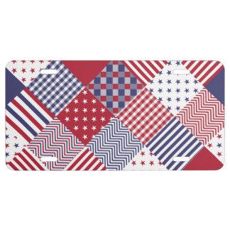 Edredón blanco de los E.E.U.U. y azul rojo Placa De Matrícula