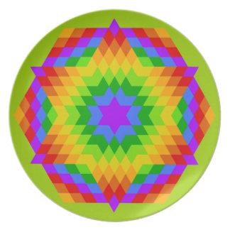 Edredón coloreado arco iris de la estrella de Halo Platos Para Fiestas