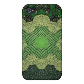 Edredón de encaje casero verde del camuflaje iPhone 4 funda