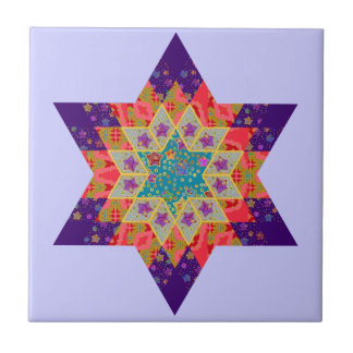 Edredón de la estrella en púrpura y naranja azulejos ceramicos