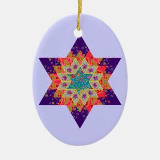 Edredón de la estrella en púrpura y naranja ornaments para arbol de navidad