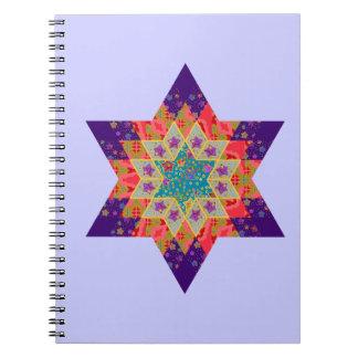 Edredón de la estrella en púrpura y naranja libro de apuntes