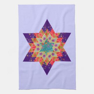 Edredón de la estrella en púrpura y naranja toalla de cocina