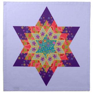 Edredón de la estrella en púrpura y naranja servilletas imprimidas