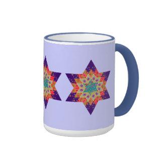 Edredón de la estrella en púrpura y naranja tazas