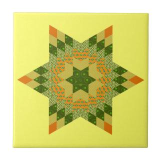 Edredón de la estrella en verde y amarillo teja  ceramica