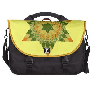 Edredón de la estrella en verde y amarillo bolsas de ordenador