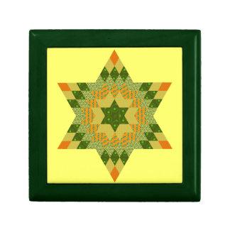 Edredón de la estrella en verde y amarillo cajas de recuerdo