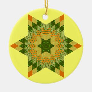 Edredón de la estrella en verde y amarillo ornato
