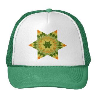 Edredón de la estrella en verde y amarillo gorras de camionero