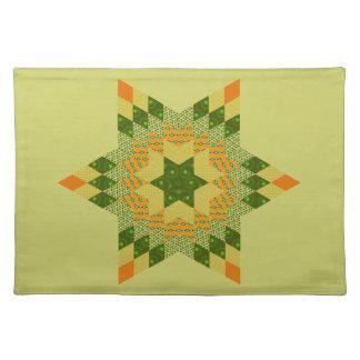 Edredón de la estrella en verde y amarillo mantel individual