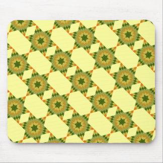 Edredón de la estrella en verde y amarillo mouse pads