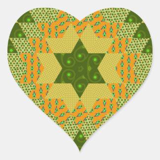 Edredón de la estrella en verde y amarillo pegatinas de corazon