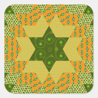 Edredón de la estrella en verde y amarillo calcomanías cuadradas