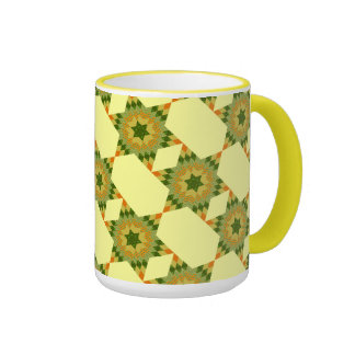Edredón de la estrella en verde y amarillo tazas