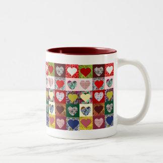 Edredón de los corazones del amor taza de café