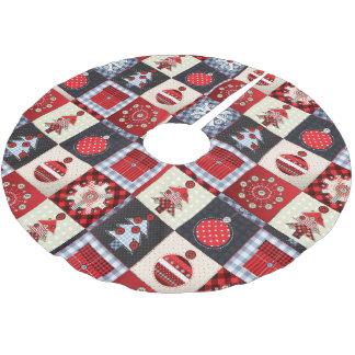 Edredón de remiendo caprichoso del navidad de la falda para arbol de navidad de poliéster