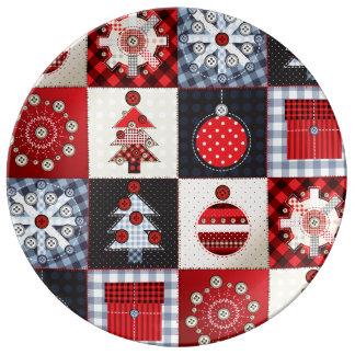 Edredón de remiendo caprichoso del navidad de la platos de cerámica
