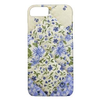 Edredón de remiendo floral azul funda iPhone 7