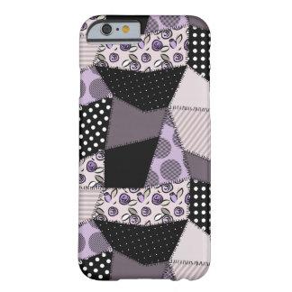Edredón de remiendo hermoso púrpura del país funda de iPhone 6 barely there