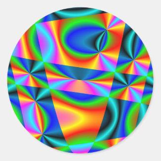 Edredón del arco iris pegatina redonda
