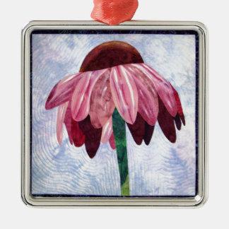 Edredón del arte de la flor del cono adorno navideño cuadrado de metal