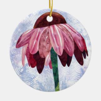 Edredón del arte de la flor del cono adorno navideño redondo de cerámica