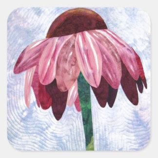 Edredón del arte de la flor del cono pegatina cuadrada