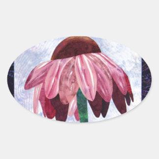 Edredón del arte de la flor del cono pegatina ovalada