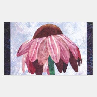 Edredón del arte de la flor del cono pegatina rectangular