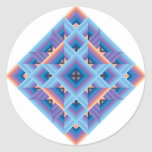 Edredón del diamante en azul y púrpura pegatina redonda